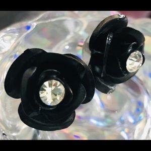 Black rose crystal rhinestone earrings Betsey j